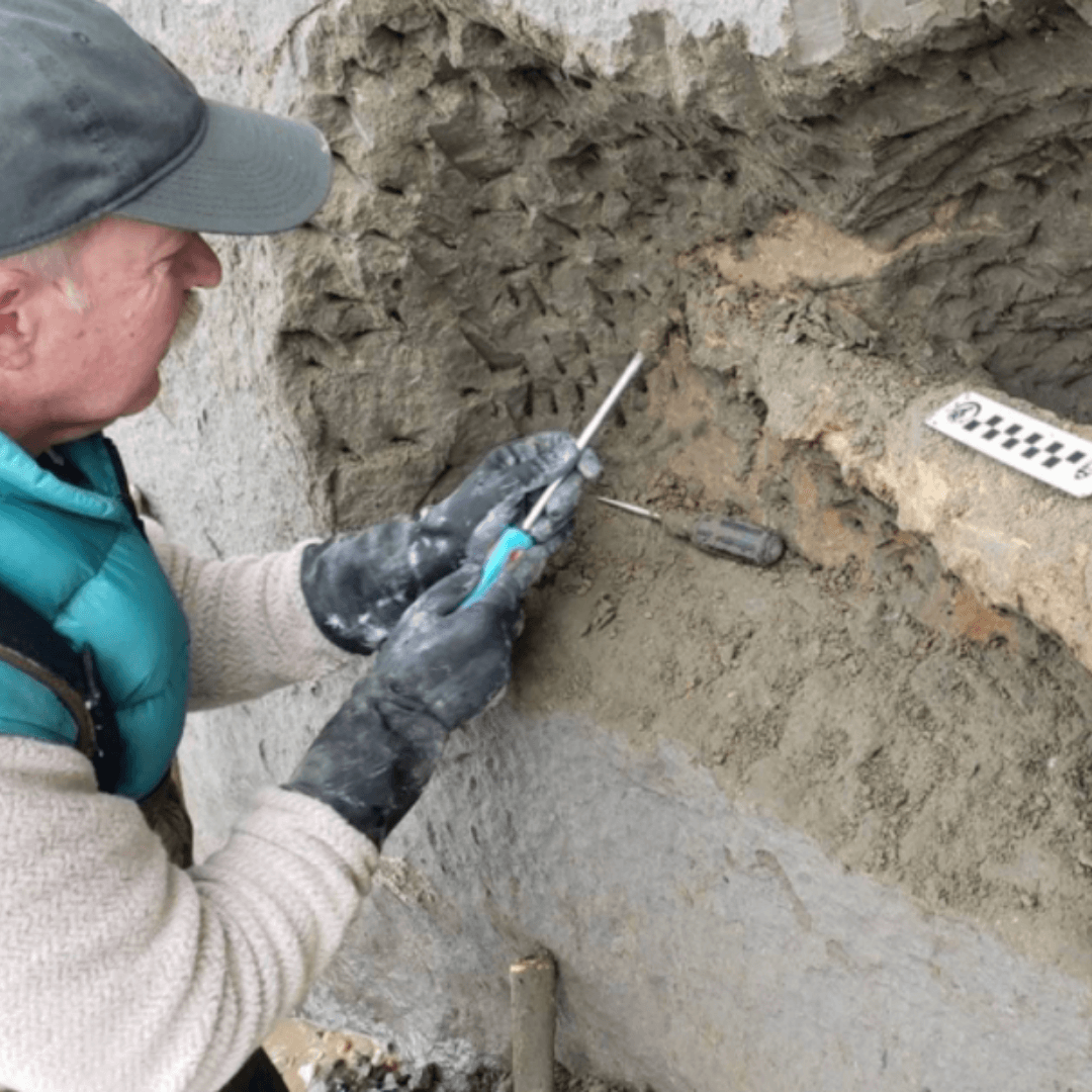 Dr. Stephen Godfrey excavates at the cliffs Opens in new window